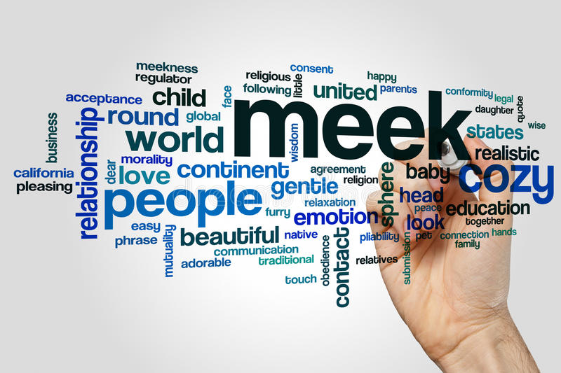 Meek word cloud. Concept on grey background royalty free stock images