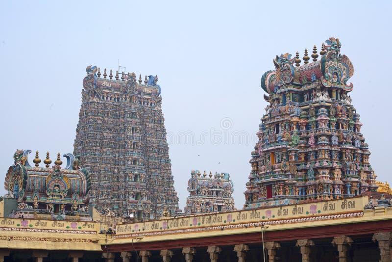 Meenakshi印度寺庙在马杜赖 库存图片