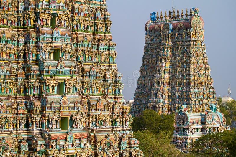Meenakshi寺庙在马杜赖,泰米尔纳德邦,印度 库存照片