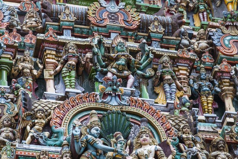 Meenakshi寺庙细节在马杜赖,印度 免版税库存图片