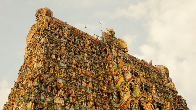 Meenakshi Amman tempel i Madurai, Indien fotografering för bildbyråer