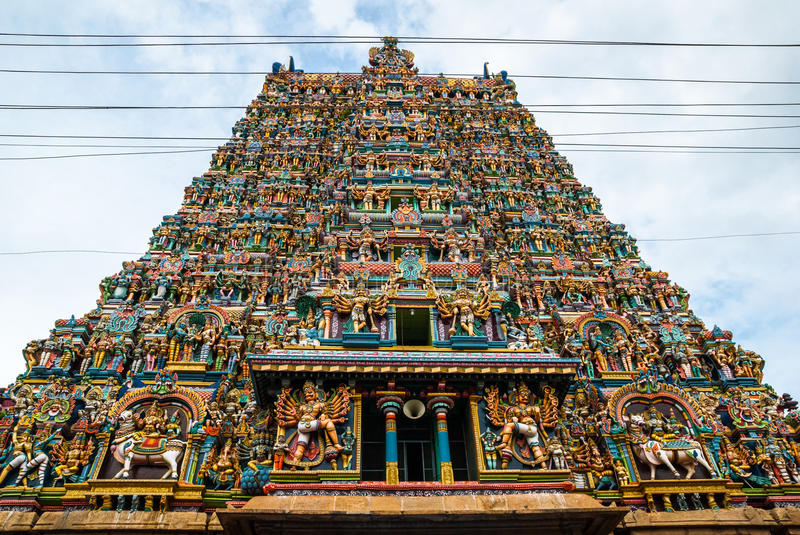 Meenakshi hindu temple in Madurai, royalty free stock images