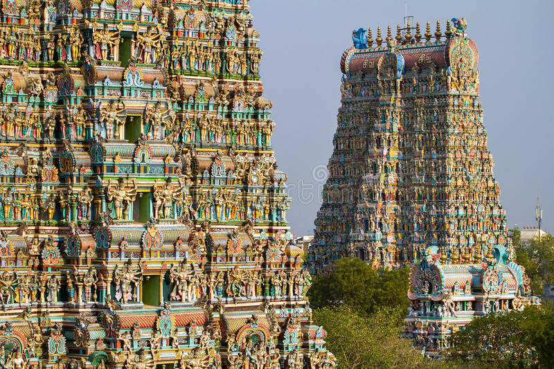 Meenakshi temple in Madurai, Tamil Nadu, India. MADURAI, INDIA - MARCH 3: Meenakshi temple - one of the biggest and oldest Indian temples on March 3, 2013 in stock photos