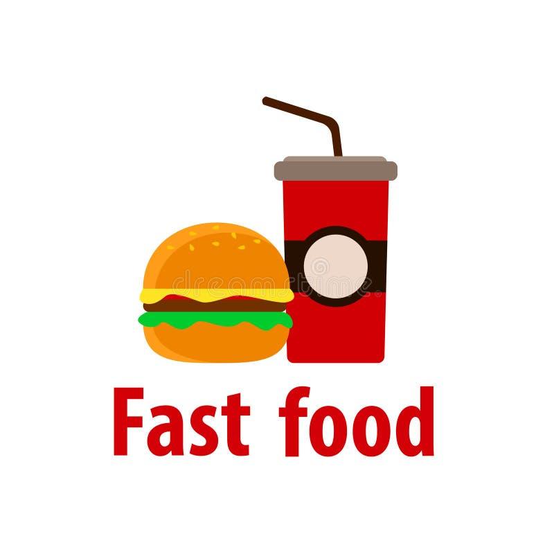 Meeneem, sprankelend drink soda en hamburger Vlak Ontwerp stock illustratie