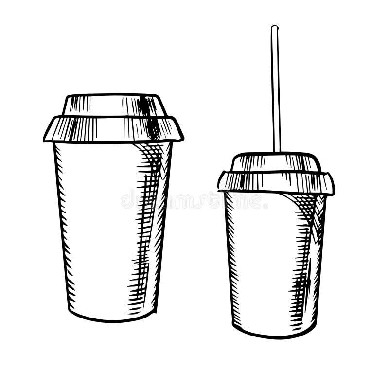 Meeneemkoffie en sodadrankenschetsen royalty-vrije illustratie