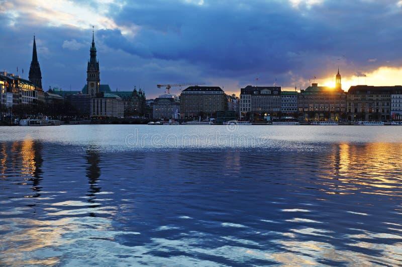 Meer Alster in Hamburg royalty-vrije stock foto