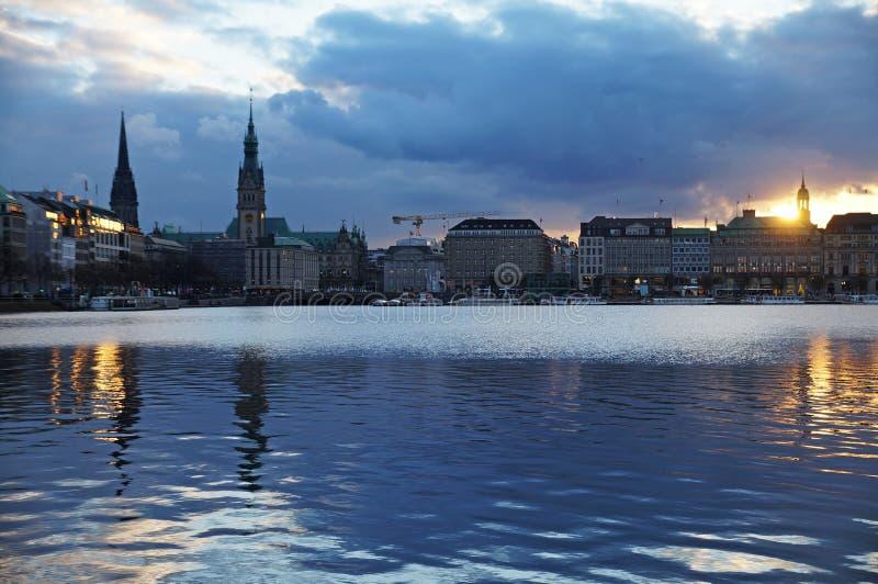 Meer Alster in Hamburg stock fotografie