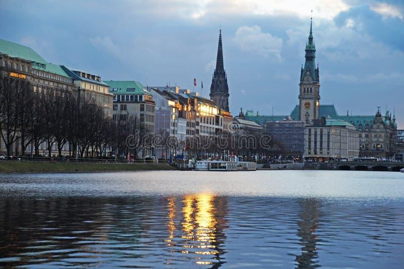Meer Alster in Hamburg stock afbeelding