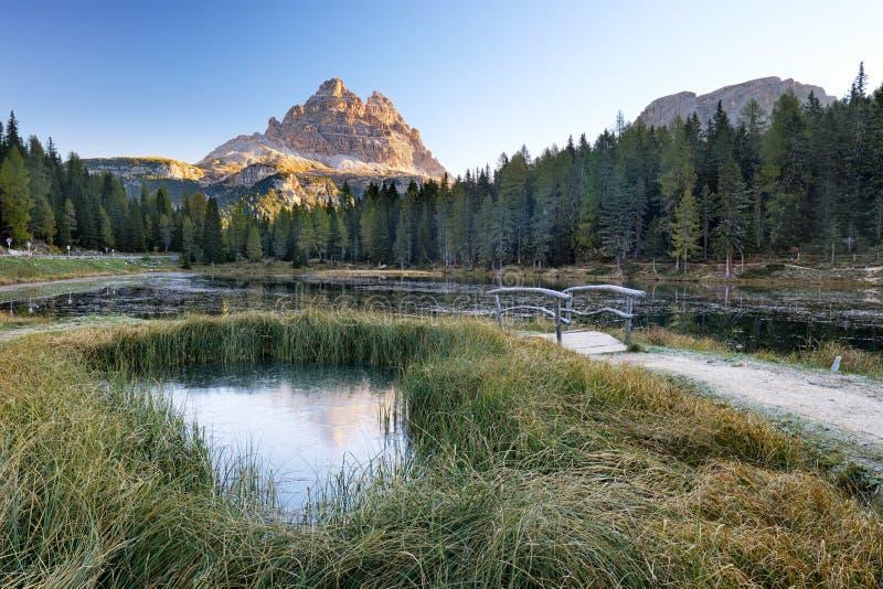 Meer Antorno door de herfstbos wordt omringd in Dolomietmounta die royalty-vrije stock afbeeldingen