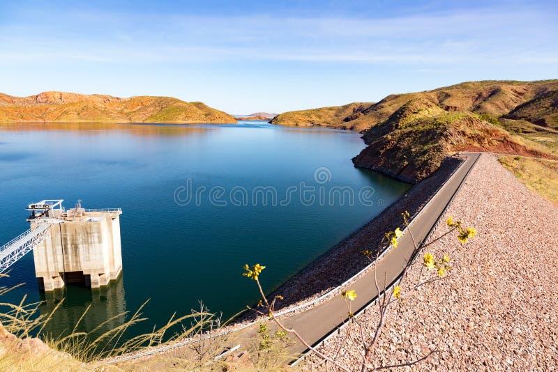 Meer Argyle Dam in ver binnenland Australië stock foto's