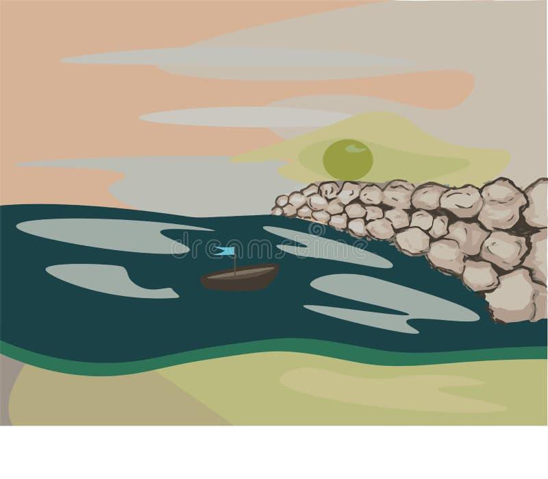 Meer auf dem Strand, der Sonne und den Felsen lizenzfreie abbildung