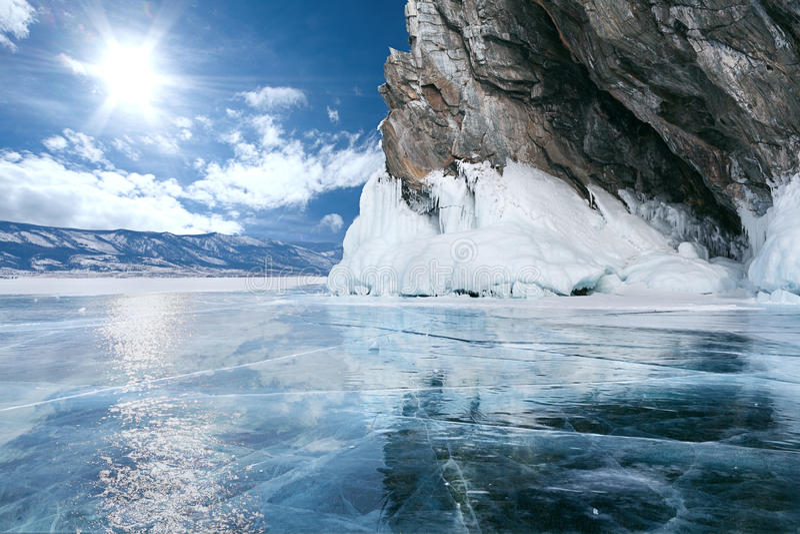 Meer Baikal in de winter royalty-vrije stock fotografie