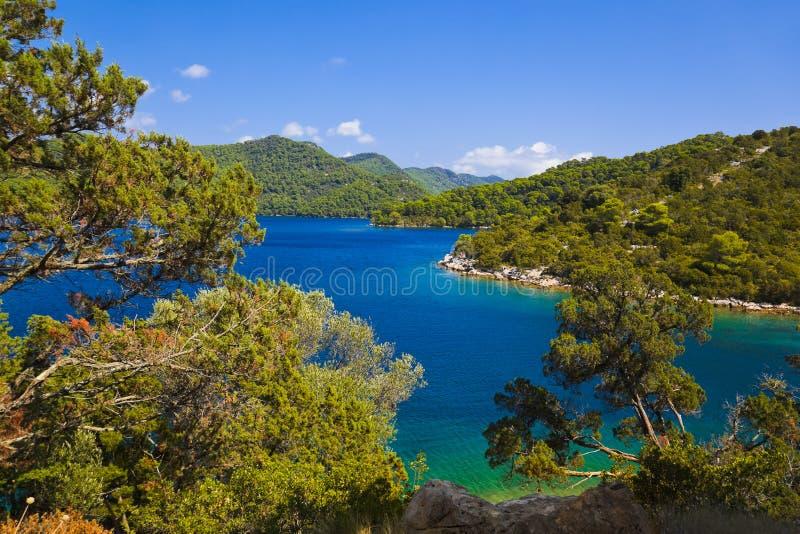 Meer bij eiland Mljet in Kroatië stock foto's