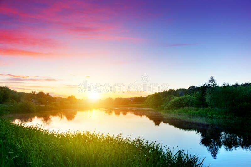 Meer in Bos bij Zonsondergang Romantische hemel royalty-vrije stock fotografie