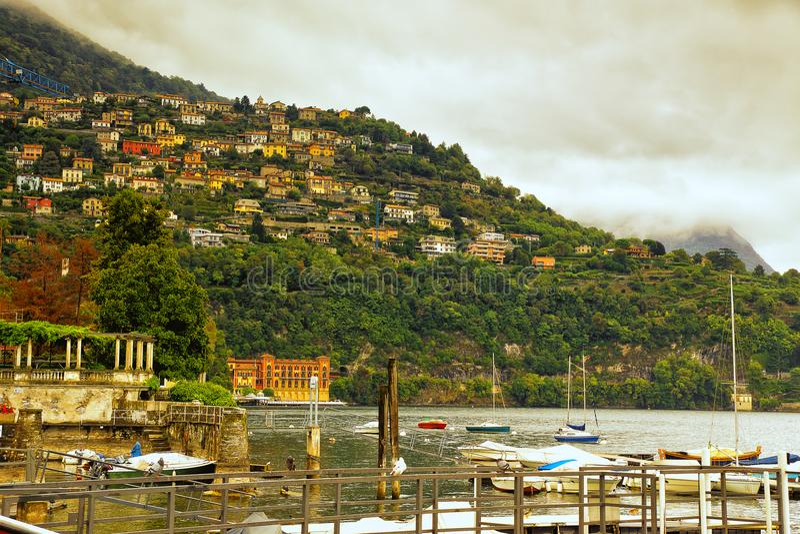 Meer Como Cernobbio Italië stock foto's