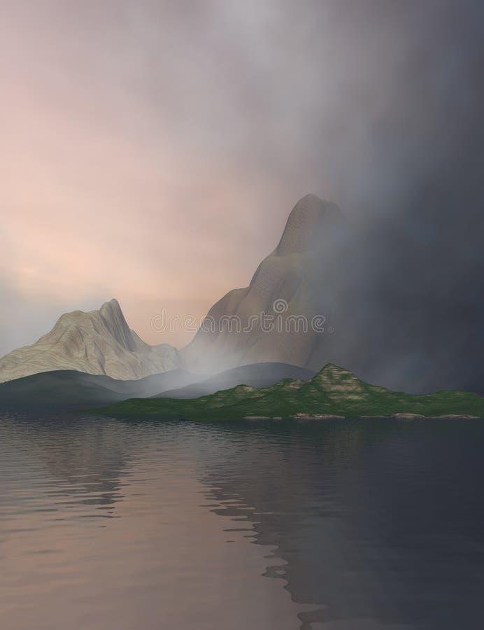 Meer en Bergen stock afbeelding