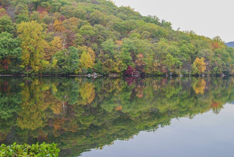 Meer en bomen in de herfstnamiddag in het Bear-gebergte stock afbeeldingen