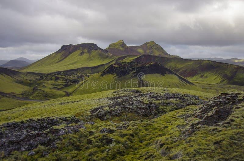 Meer en mos-behandelde vulkanische bergen Landmannalaugar Icela stock afbeelding