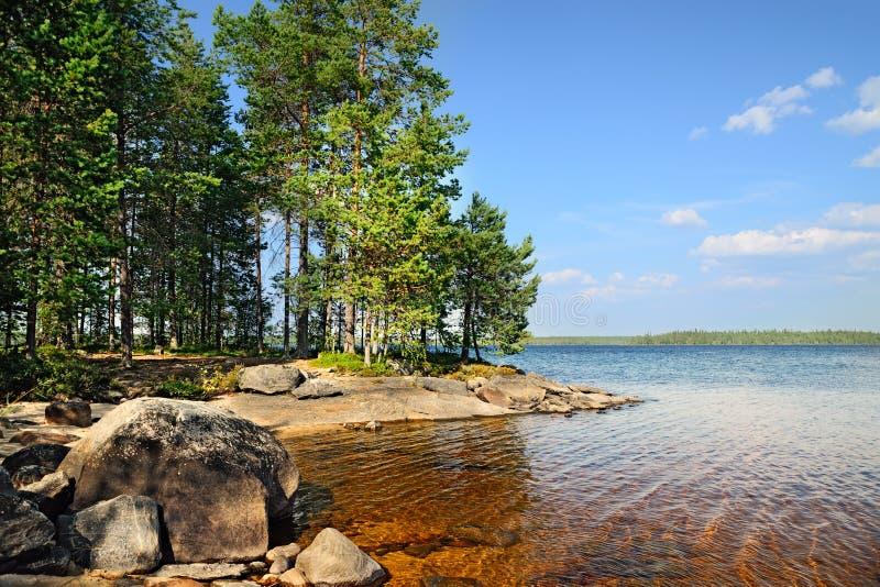 Meer Engozero, Noord-Karelië, Rusland stock afbeeldingen