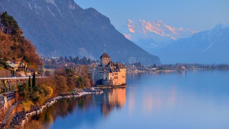 Meer Genève bij zonsondergang royalty-vrije stock afbeeldingen