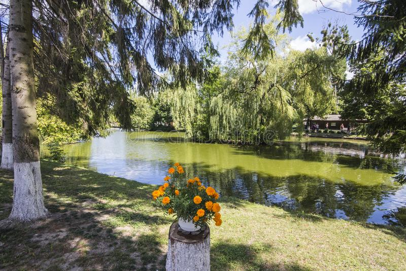 Meer in het park van Lutsk ukraine royalty-vrije stock fotografie