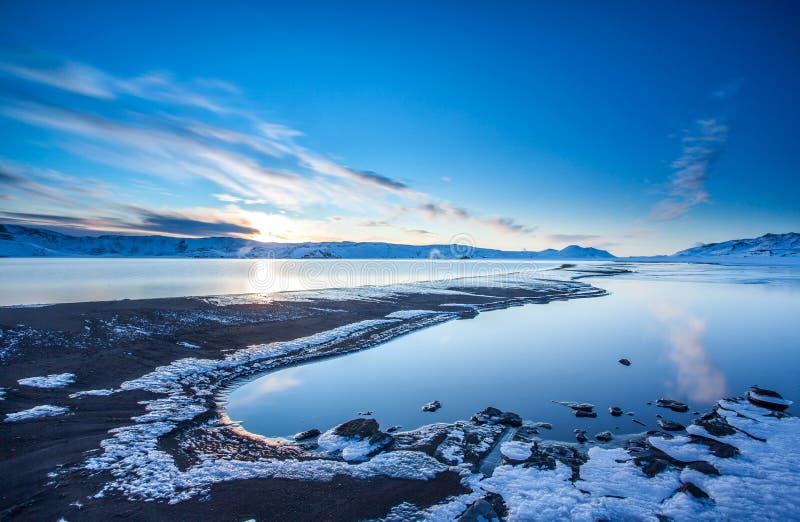 Meer Kleifarvatn, IJsland stock afbeeldingen