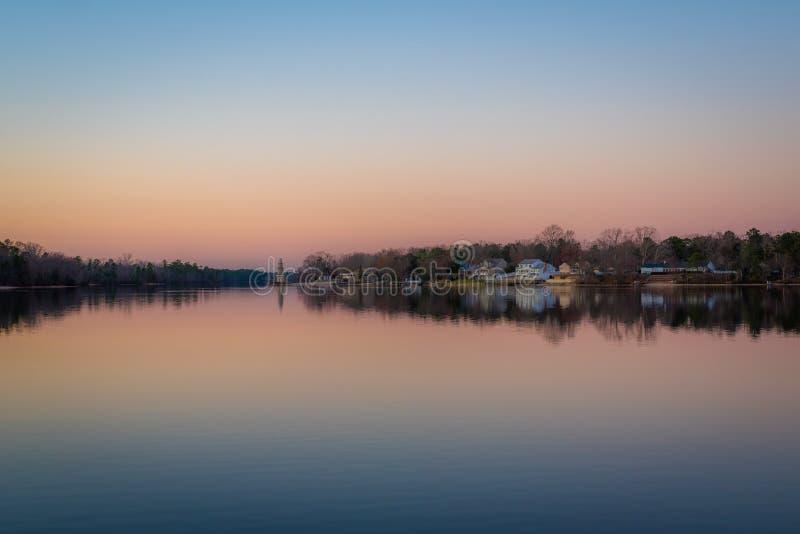 Meer Lenape bij zonsondergang, in Mays die, New Jersey landen royalty-vrije stock afbeelding