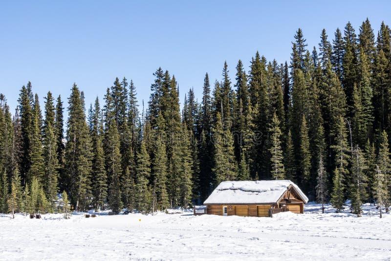 MEER LOUISE, CANADA - MAART 20, 2019: bevroren meer in Alberta met blokhuis stock foto