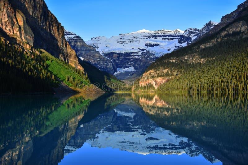 Meer Louise, Nationaal Park Banff stock afbeelding