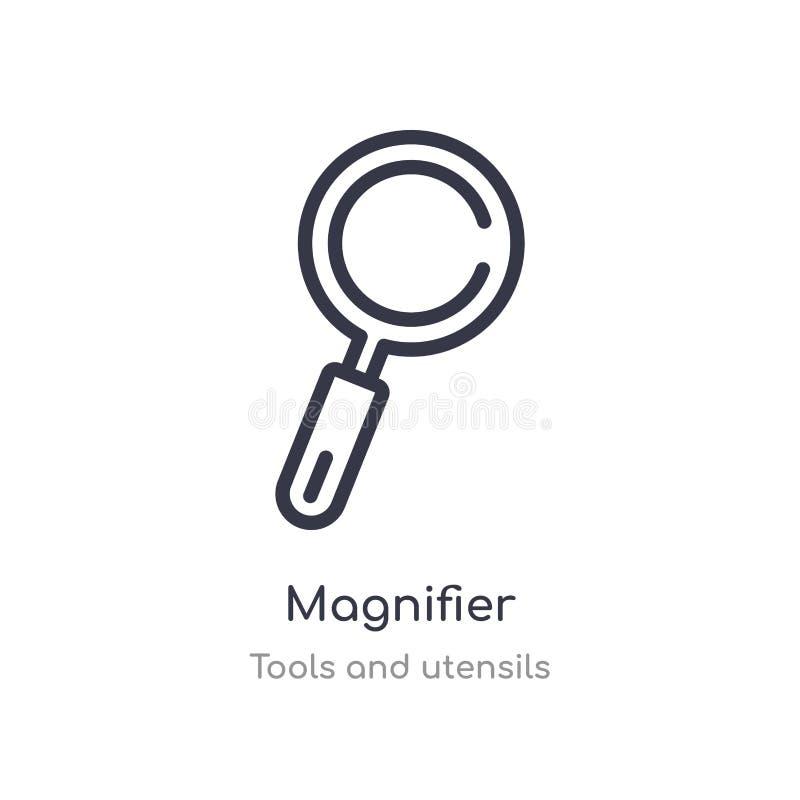 meer magnifier overzichtspictogram ge?soleerde lijn vectorillustratie van hulpmiddelen en werktuigeninzameling editable dun slag  stock illustratie