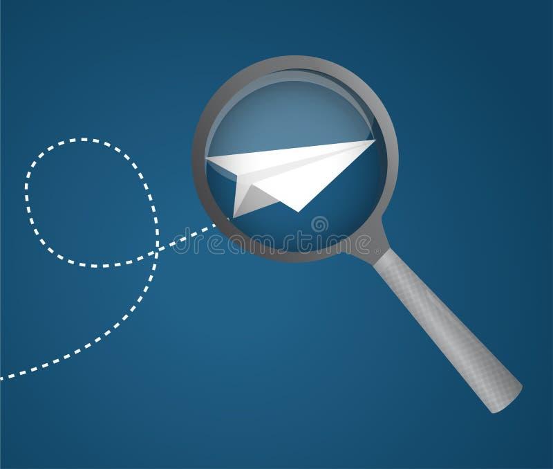 meer magnifier pictogram met een document vliegtuig Vector illustratie royalty-vrije illustratie