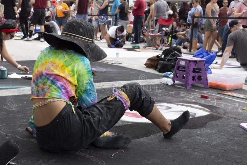 Meer met een waarde van, Florida, de V.S. die Fab 23-24, de 25Th Jaarlijkse Straat van 2019 Fest schilderen stock afbeeldingen
