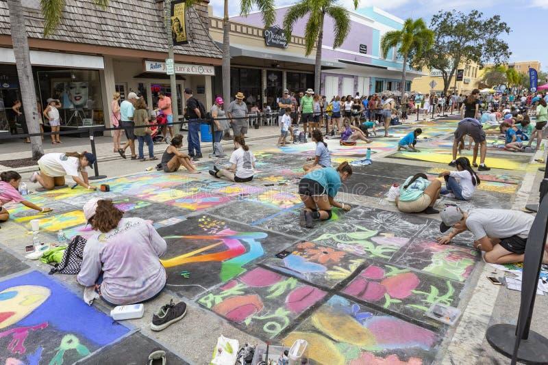 Meer met een waarde van, Florida, de V.S. die Fab 23-24, de 25Th Jaarlijkse Straat van 2019 Fest schilderen royalty-vrije stock fotografie