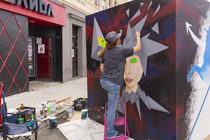 Meer met een waarde van, Florida, de V.S. Fab 23-24, de Straat van 2019 25Th Jaarlijks het Schilderen Festival stock fotografie