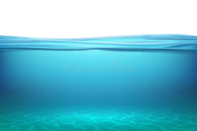 Meer onderwateroppervlakten Ontspan blauwe horizonachtergrond onder oppervlakteoverzees, de schone natuurlijke pool van de mening stock illustratie