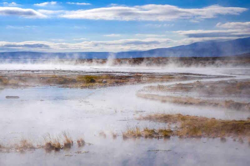 Meer op sol DE manana geothermisch gebied, sud Lipez-reserva, Boliv royalty-vrije stock afbeelding