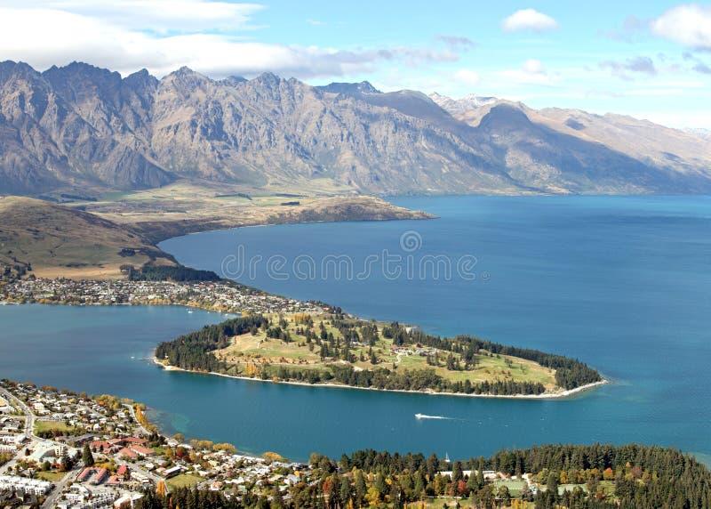 Meer Queenstown Nieuw Zeeland stock afbeeldingen
