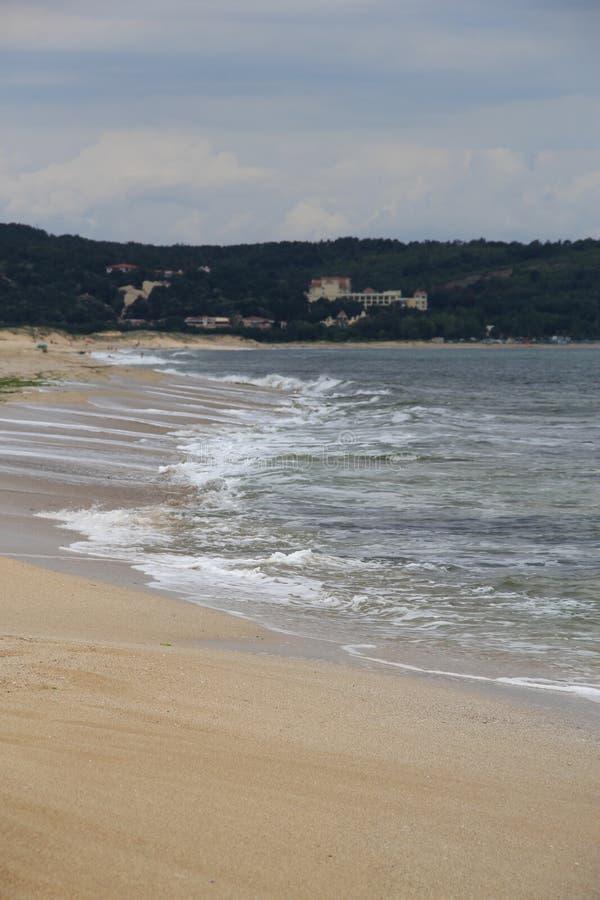 Meer, Sand, Welle, Jahr 2014 stockfotografie