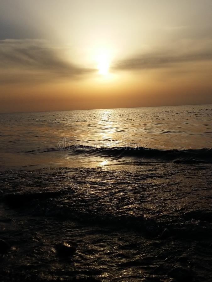 Meer, Sonnenuntergang stockfotos