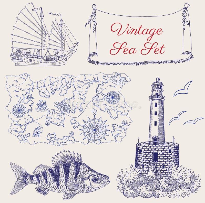 Meer stellte mit Piratenkarte, -schiff, -Leuchtturm und -fischen ein lizenzfreie abbildung