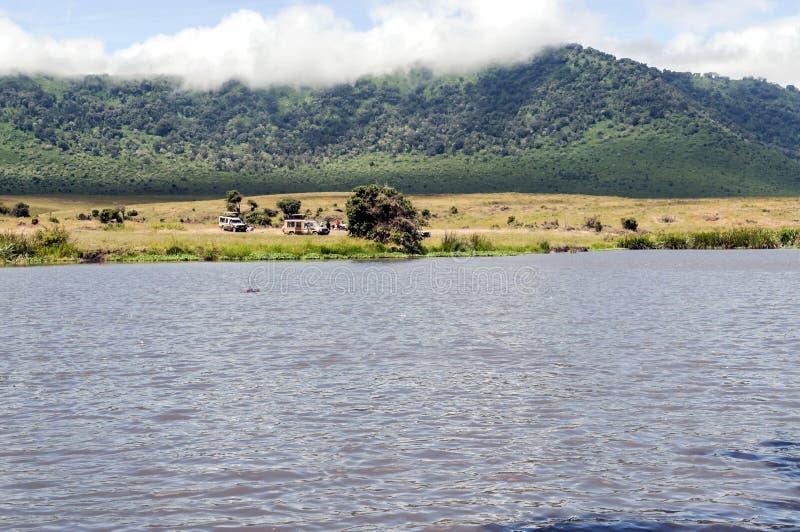 Meer in Tanzania met safariauto stock afbeeldingen