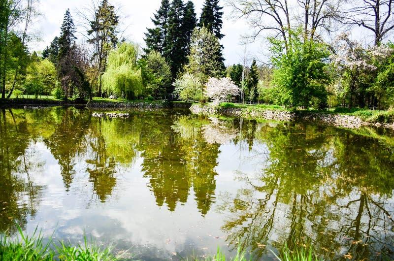 Meer in Vrana-Paleis in de lentetijd royalty-vrije stock afbeelding