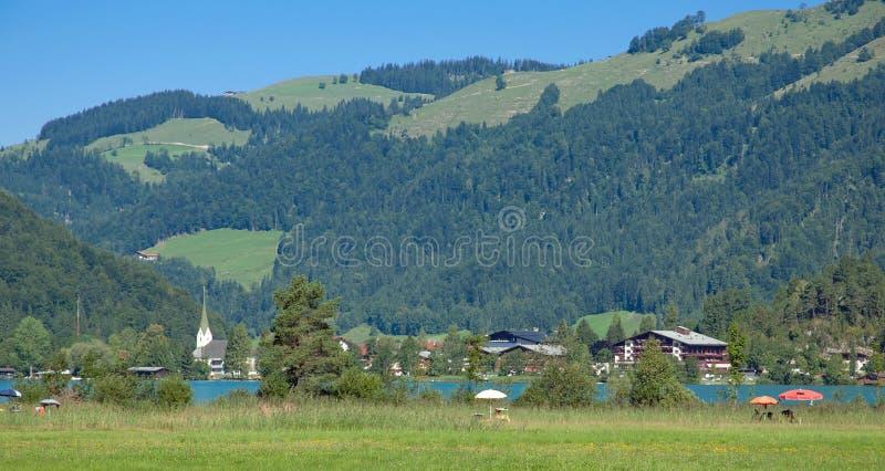 Meer Walchsee, Koessen, Tirol, Oostenrijk royalty-vrije stock foto