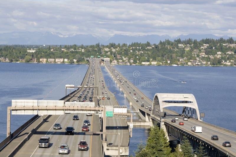 Meer Washington Seattle I-90 brug stock foto