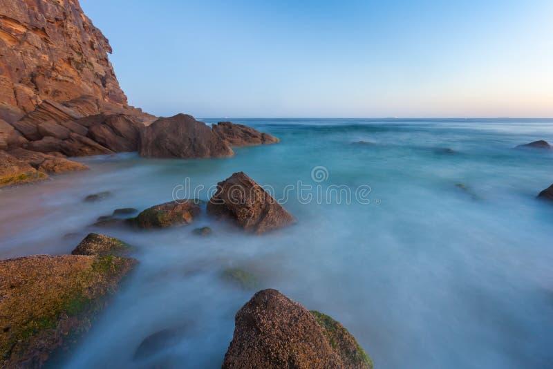 Meerblick bei Sonnenuntergang - Rothaarige-Strand - Newcastle NSW Australien stockfoto