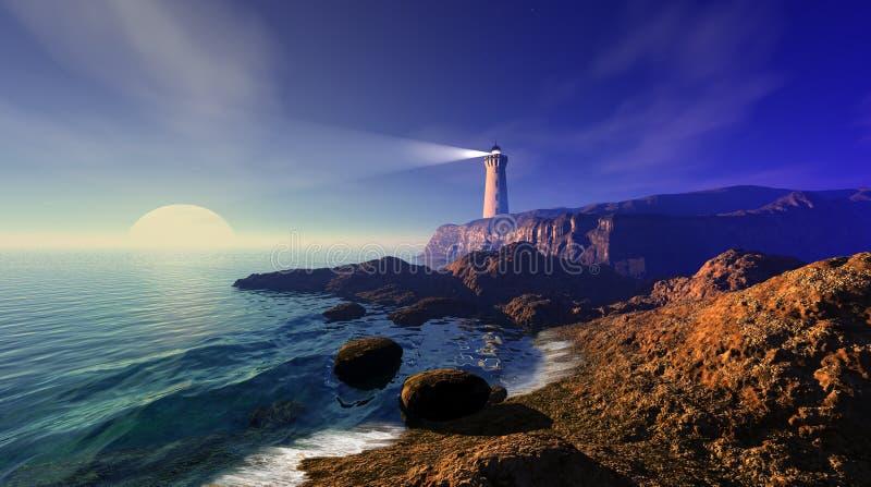 Meerblick mit Leuchtturm stock abbildung