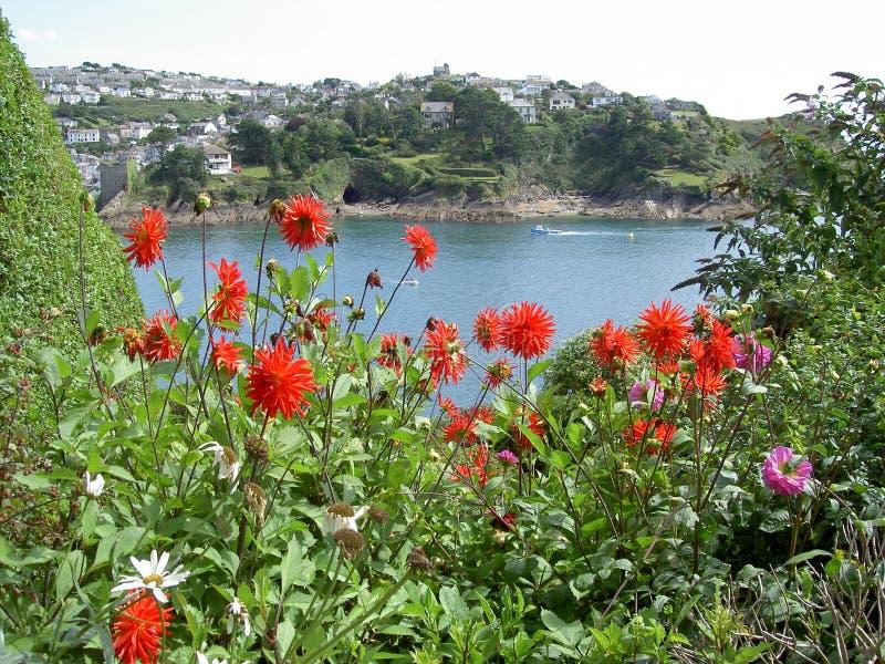 Meerblick mit roten Blumen lizenzfreies stockfoto