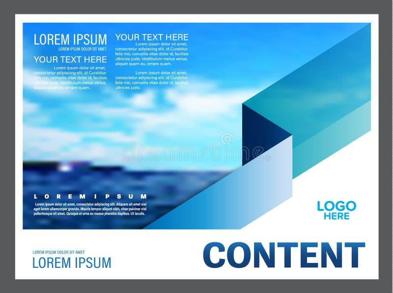 Meerblick und Darstellungsplan des blauen Himmels entwerfen Schablonenhintergrund für Tourismusreiseveranstalter Abbildung stock abbildung