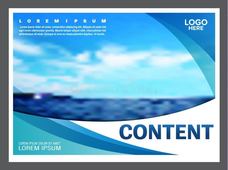 Meerblick und Darstellungsplan des blauen Himmels entwerfen Schablonenhintergrund für Tourismusreiseveranstalter Abbildung vektor abbildung