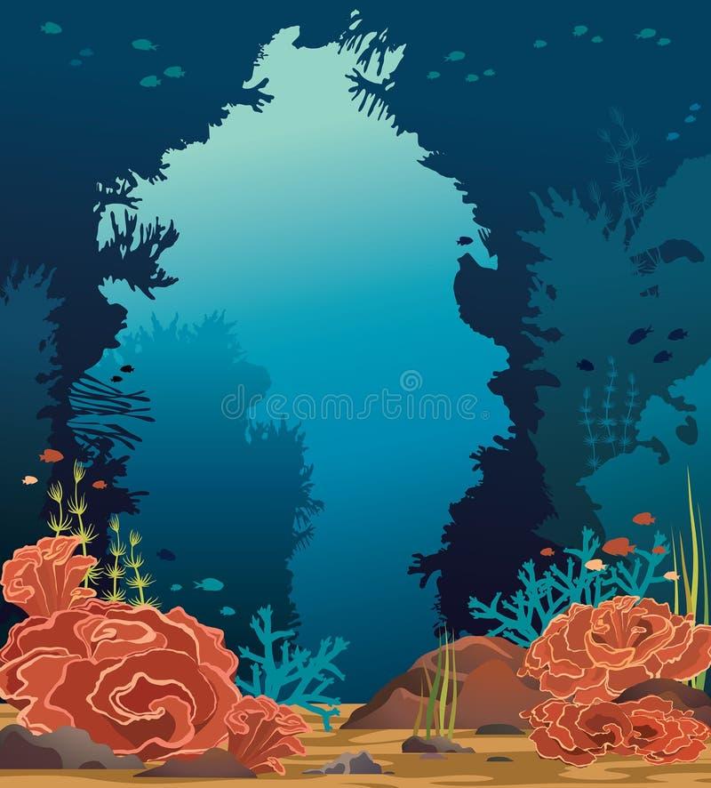 Meerblick - Unterwasserhöhle, Korallenriff und Fisch lizenzfreie abbildung
